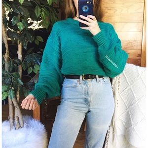 🌿 Vintage Woven Teal Chunky Detailed Knit Sweater